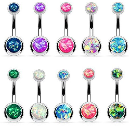 BodyJ4You 10PCS Belly Button Ring Double Created-Opal CZ Stainless Steel 14G Navel Piercing Jewelry (Double Drop Belly Ring)