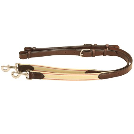 TORY LEATHER HORSE 1 INCH LEATHER & ELASTIC SIDE REIN W/ TONGUE BUCKLE HAVANA