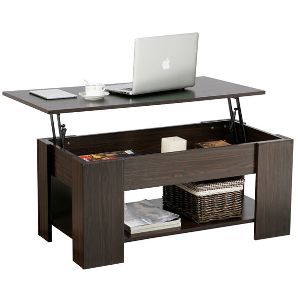 Modern Lift-up Top Tea Coffee Table w/Hidden Storage Compartment & Shelf Espresso