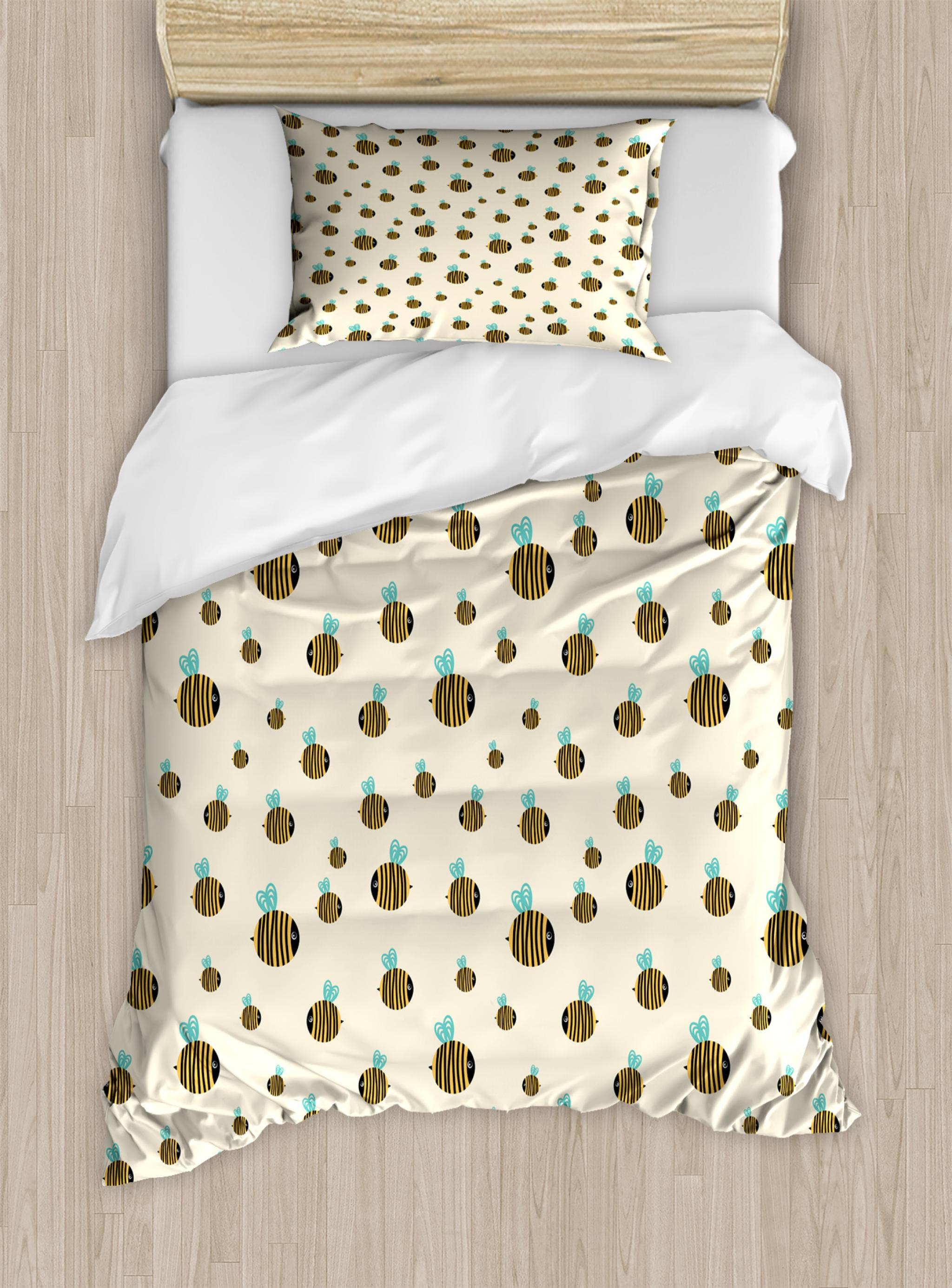 Bee Twin Size Duvet Cover Set Flying Chubby Fat Bumble