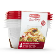Rubbermaid TakeAlongs Food Storage Containers, Deep Squares, 5.2 Cup, 4 Pack