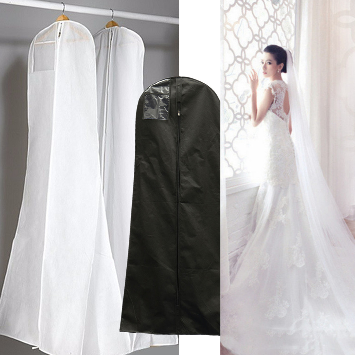 Asewin 2 Size Wedding Dress Bridal Gown Garment Dustproof Breathable Cover Storage Bag