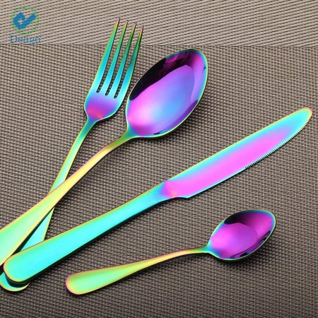 Deago 4pcs Rainbow Color Flatware Set Dinner Steak Knives Forks Spoons Teaspoons Cutlery Set Service for 1 (Colorful)