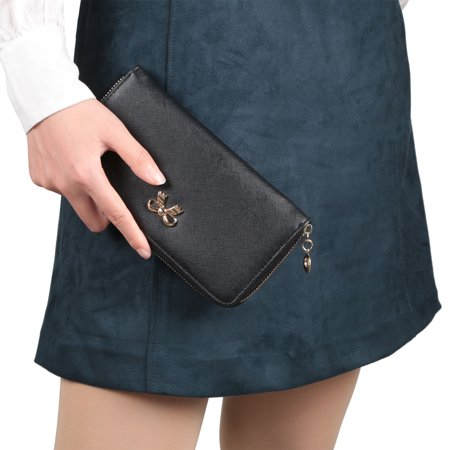 Women S Zippered Synthetic Leather Clutch Wallet   Black
