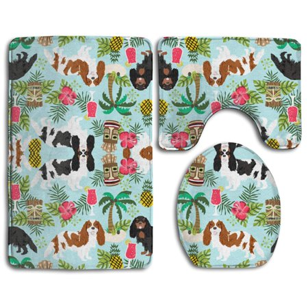 Charles Toilet (GOHAO Cavalier King Charles Spaniel Tiki Tropical 3 Piece Bathroom Rugs Set Bath Rug Contour Mat and Toilet Lid Cover)