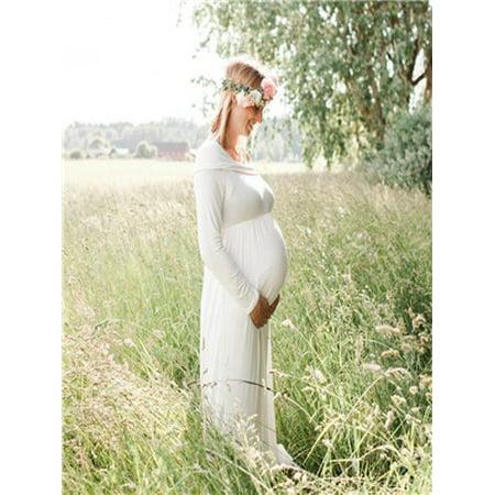 Women Cowl Neck Pregnant Sexy Photography Props Off Shoulder Nursing Dress WH/L](Sequin Cowl Neck Dress)
