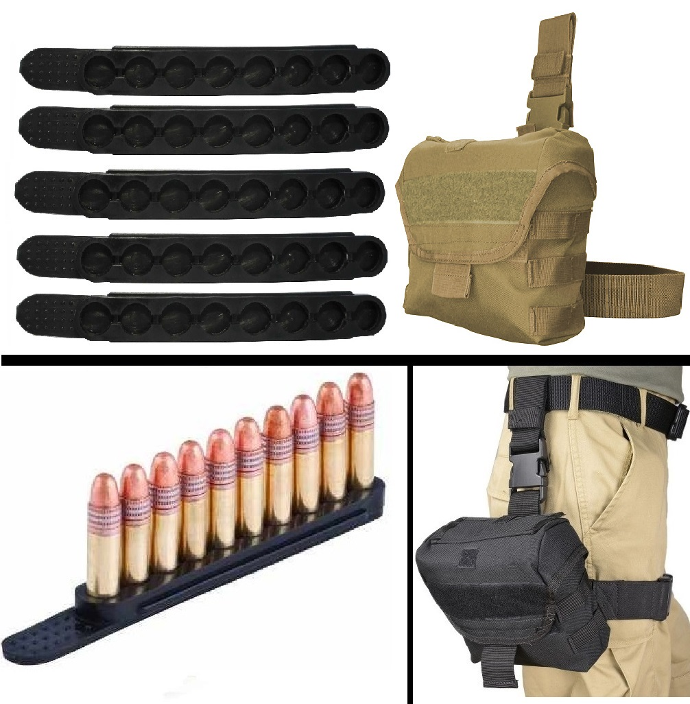 Ultimate Arms Gear .17 HM2 .22LR .22 SHORT 5 Pack QuickStrips 10 Round Quick Speed Easy Loader Stripper Strips Clips + Tan Utility MOLLE Dump Ammo Magazine Pouch Drop Leg