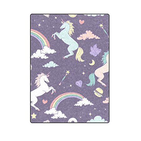 CADecor Magic Seamless Pattern With Unicorn Blanket Throw Super Soft Warm Bed or Couch Blanket 58x80 inches