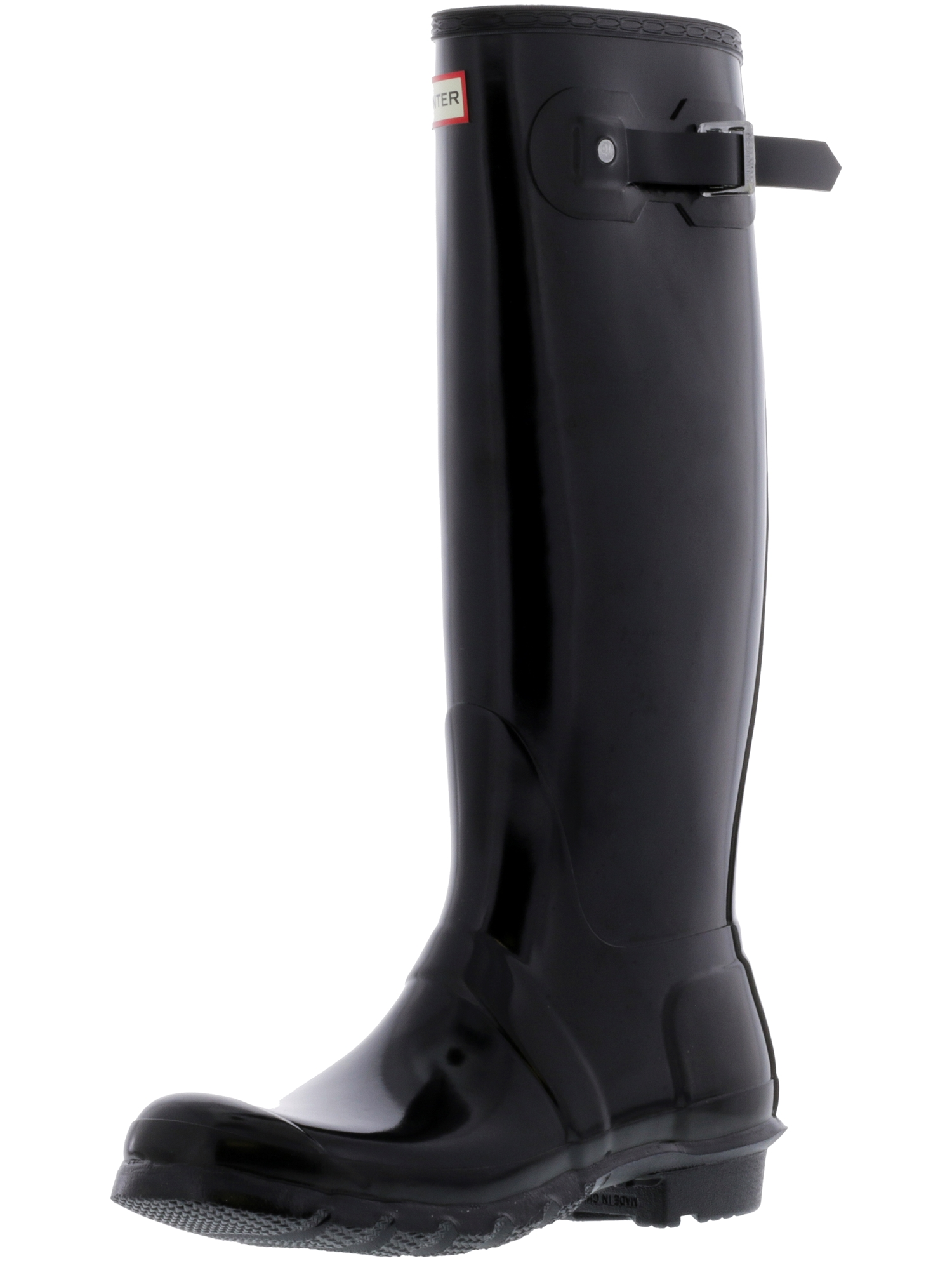 Hunter Women s Original Tall Gloss Black Knee-High Rubber Rain Boot ... dc1560a35e