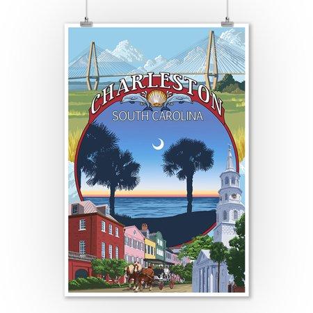 Charleston Lantern (Charleston, South Carolina - Town Views - Lantern Press Artwork (9x12 Art Print, Wall Decor Travel)