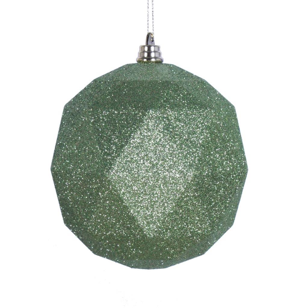 "Vickerman 467626 - 4.75"" Lime Glitter Geometric Ball Christmas Tree Ornament (4 pack) (M177373DG)"