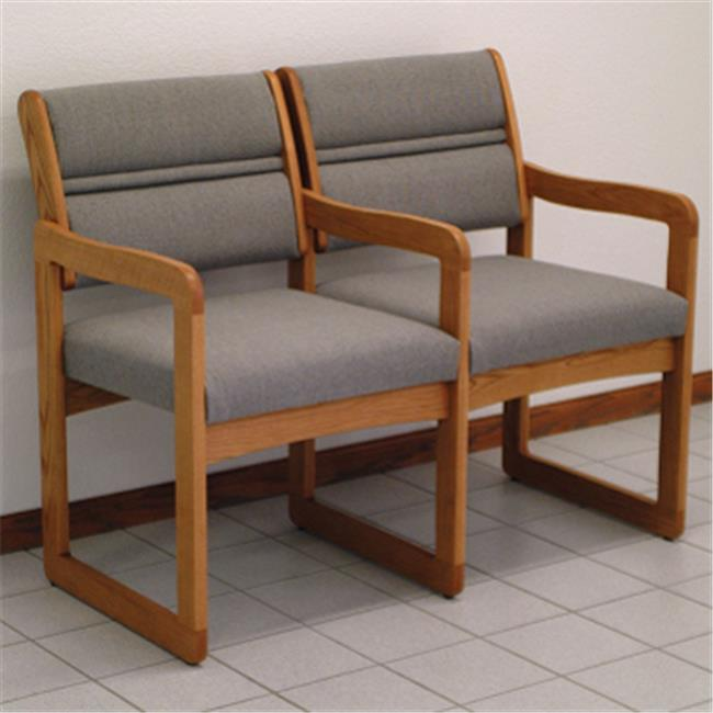 Wooden Mallet DW1-2MOVB Valley Two Seat Chair with Center Arms in Medium Oak - Blue