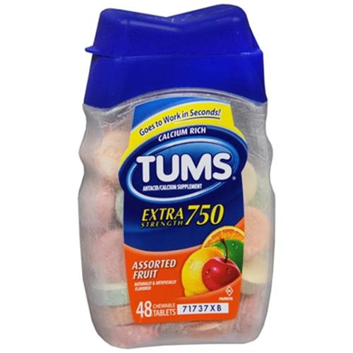 TUMS Extra Strength Antacid/Calcium, Assorted Fruits 48 ea (Pack of 2)