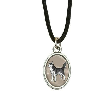 Siberian Husky - Pet Dog Oval Charm Pendant ()