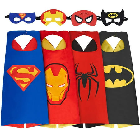 【Best Gift for Birthday Party】Kids Superheros Capes and Masks for Boys Costume and Dress up Set of 4 - Funny Superheroes Costumes