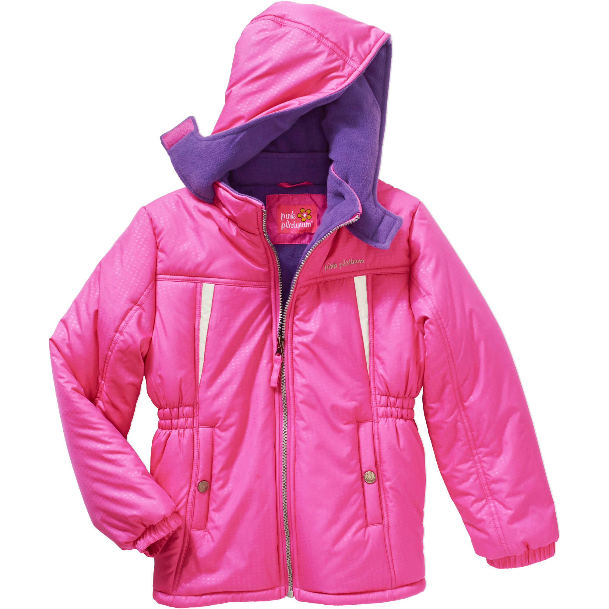 Pink Platinum Girls' Stamp Print Active Jacket with Pockets