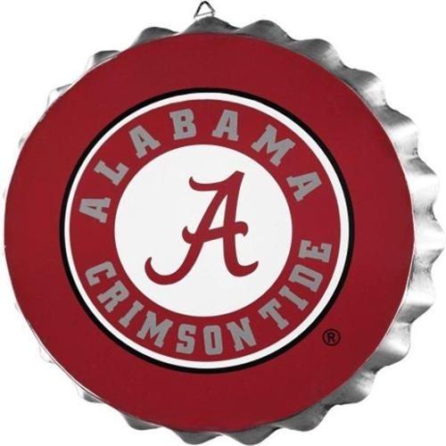Alabama Crimson Tide Official NCAA 14 inch  Metal Bottle Cap Wall Sign by Forever Collectibles