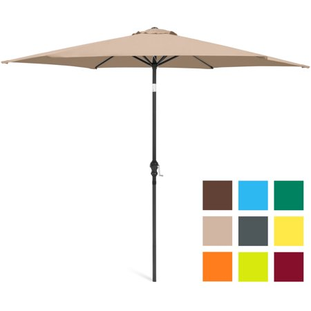 Best Choice Products 10-foot Outdoor Table Compatible Steel Polyester Market Patio Umbrella with Crank and Easy Push Button Tilt, Tan ()