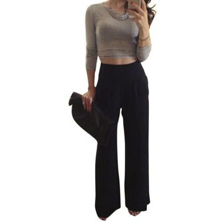 Women Wide Leg High Waist Solid Palazzo Trousers Flare Loose Casual Long