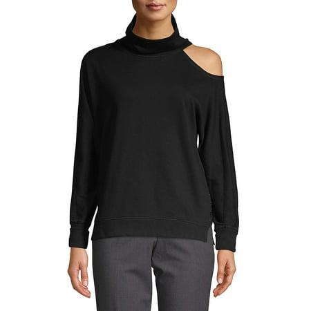 Turtleneck Cotton Blend Sweatshirt