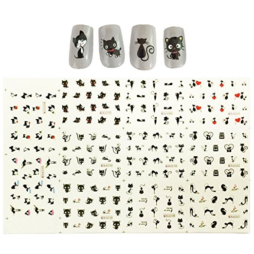 Wrapables® Black Cats Water Slide Nail Art Decals Water Transfer Nail Decals (11 designs/220 Nail Decals)