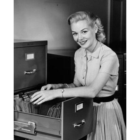 File Portrait (Portrait of a businesswoman searching for files in a filing cabinet Canvas Art -  (18 x)