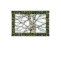 Birch Tree In Winter Glass Window Panel
