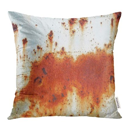 YWOTA Brown Plate Old Metal Iron Rust White Dirty Industrial Material Metallic Rough Rusted Rusting Pillow Cases Cushion Cover 16x16 inch
