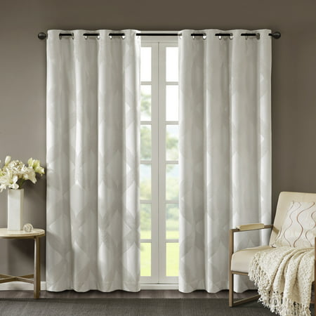 Home Essence Byron Ogee Knitted Jacquard Total Blackout Curtain Panel ()