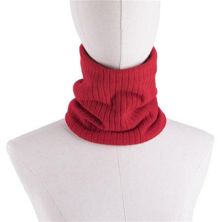Women Men Fleece Neck Warmer Thermal Snood Hat Ski Wear Scarf Beanie Red