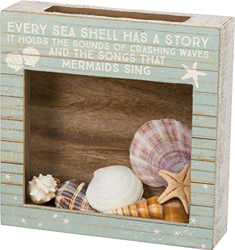 Primitives by Kathy A Sea Shell Is Never Empty Shell Holder Decorative Box Sign