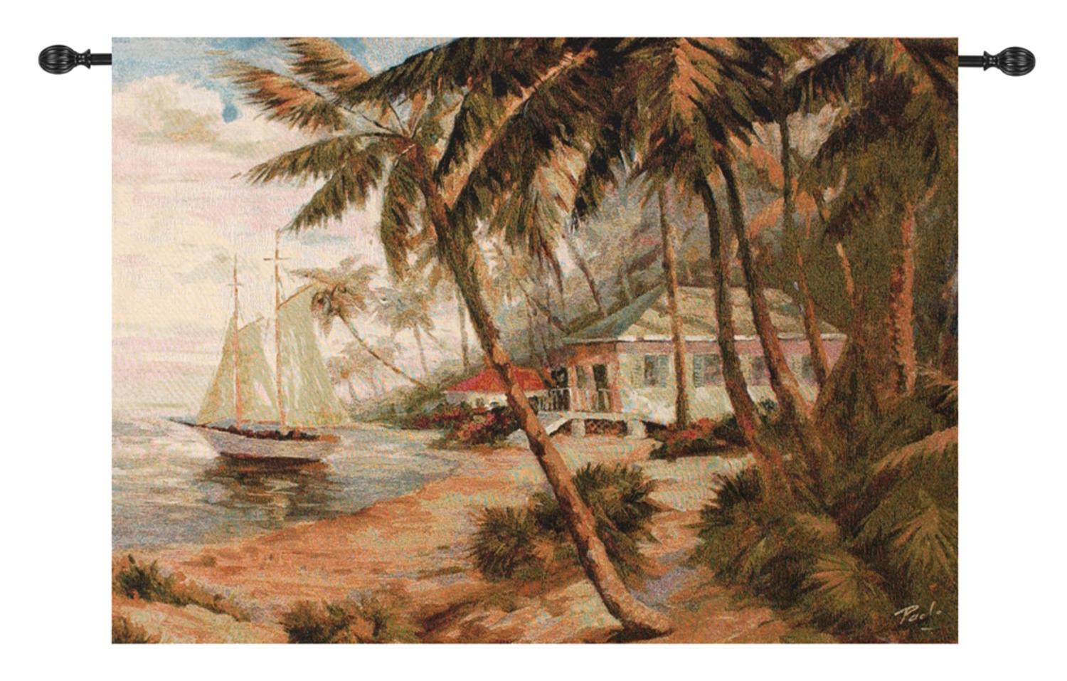 """Key West Hideaway with Sailboat Cotton Wall Artwork Hanging Tapestry 35"""" x 47"""" by Manual Weavers"""