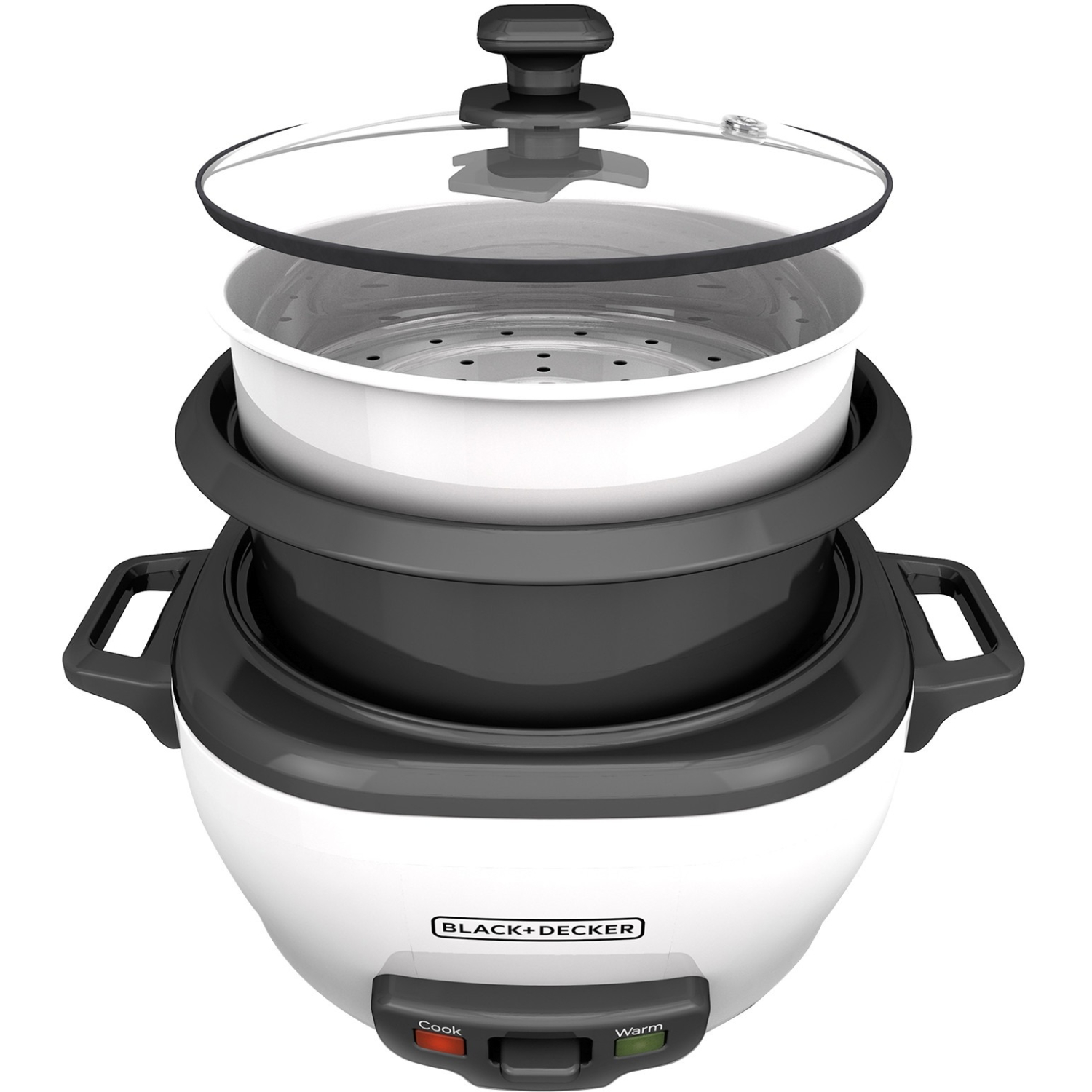 BLACK+DECKER 3-Cup Rice Cooker and Steamer Basket, White, RC503