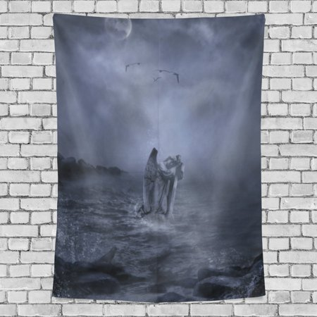 POPCreation Gothic Castle Tapestry Gothic Dark Cloud Sky Angel Salvation Fabric Tapestry Throw Dorm bedroom Art Home Decor Tapestry Wall Hanging 40x60 inches
