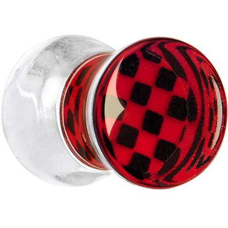 Body Candy Clear Acrylic Red and Black Checker Inlay Saddle Plug (1 Piece) 4 - Red And Black Candy