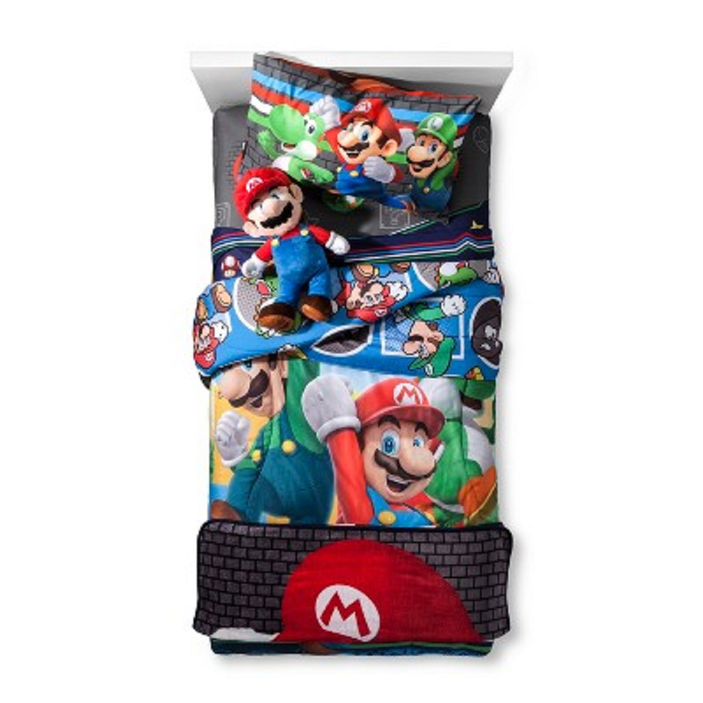 Mario Twin Reversible Comforter and 3 Piece Sheet Set with Throw and Pillow Buddy Set