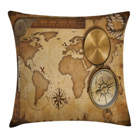 - Map Throw Pillow Cushion Cover, Aged Vintage Treasure Map Ruler Rope Old Compass Antique Adventure Discovery, Decorative Square Accent Pillow Case, 20 X 20 Inches, Brown Pale Brown, by Ambesonne