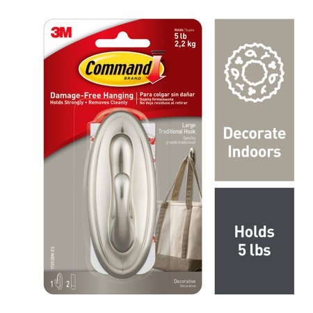Command Traditional Hook, Brushed Nickel, Large, 1 Hook, 2 Strips/Pack
