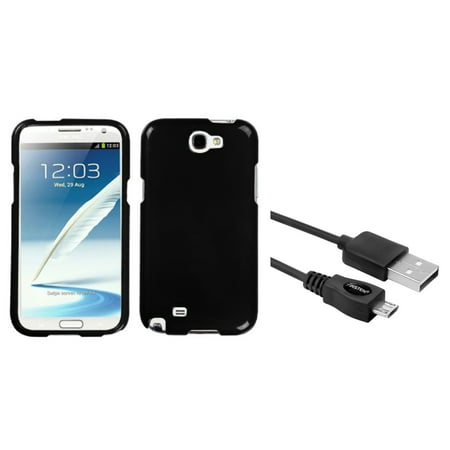 Insten Solid Black Hard Case+6FT USB Cord Cable For Samsung Galaxy Note 2 II