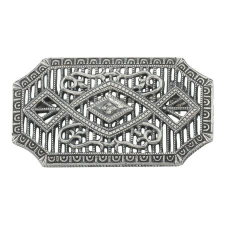 Art Deco Style Filigree Diamond Pin / Brooch - Sterling Silver Sterling Silver Filigree Brooch
