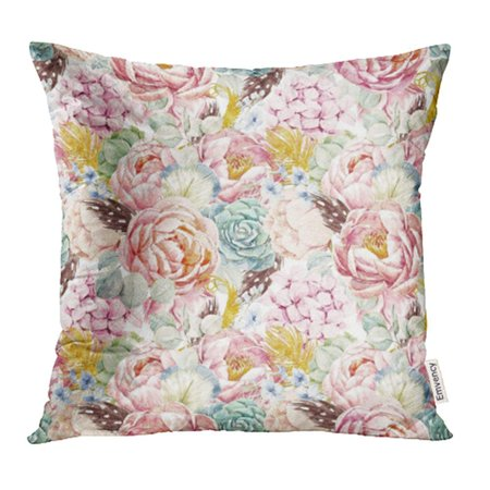 ARHOME Gentle Watercolor Floral Peony Flowers Succulents Hydrangea Feathers Birds Pillowcase Cushion Cases 20x20 inch