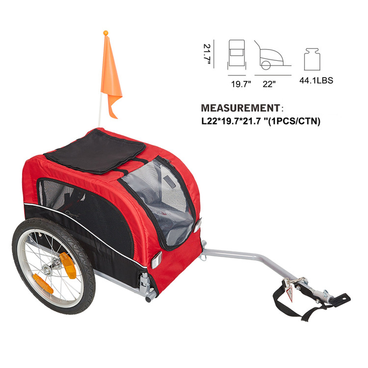 Pet Bike Carrier Dog Cat Pet Bicycle Trailer Pet Stroller - Red