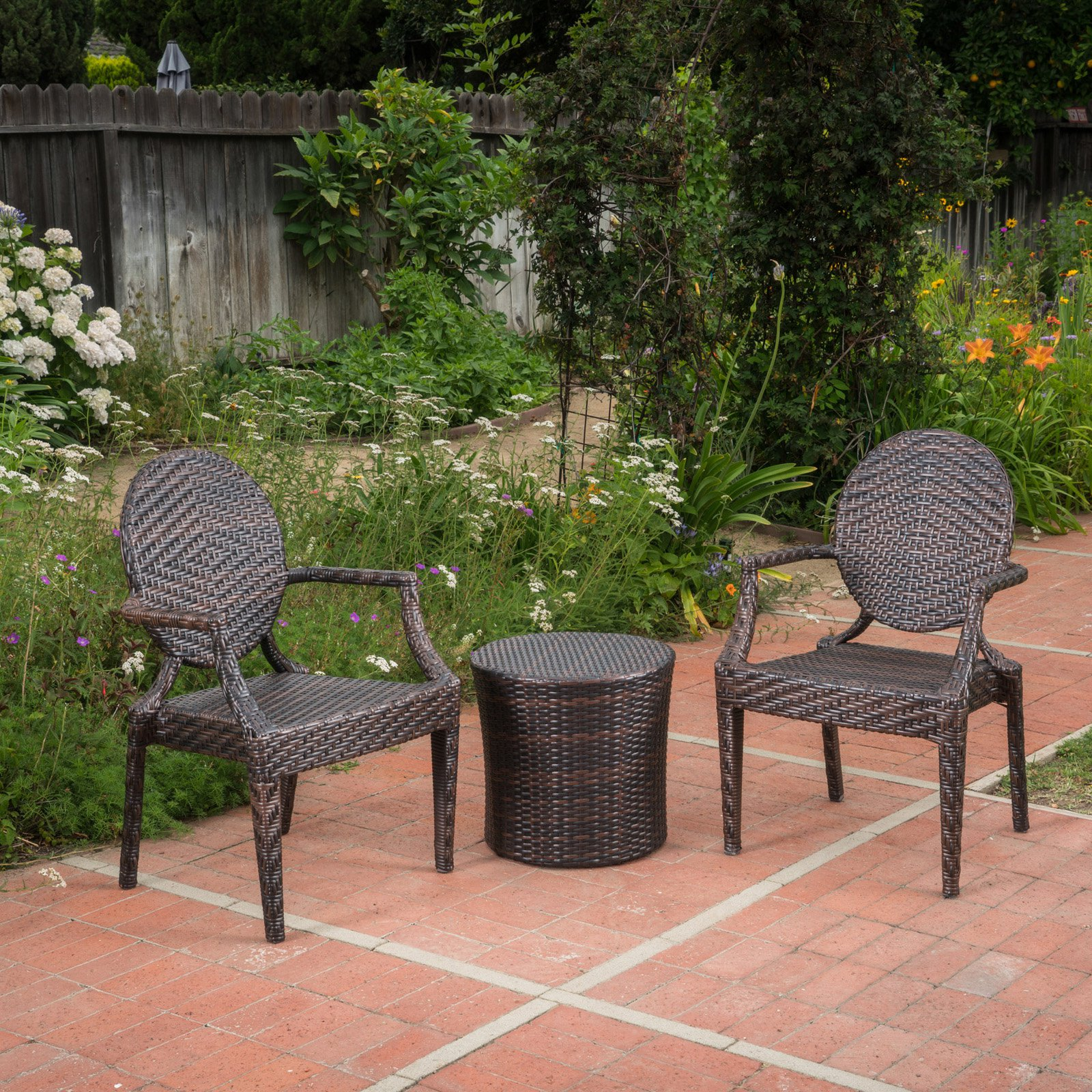 Dorsey Wicker 3 Piece Outdoor Stacking Chair Chat Set
