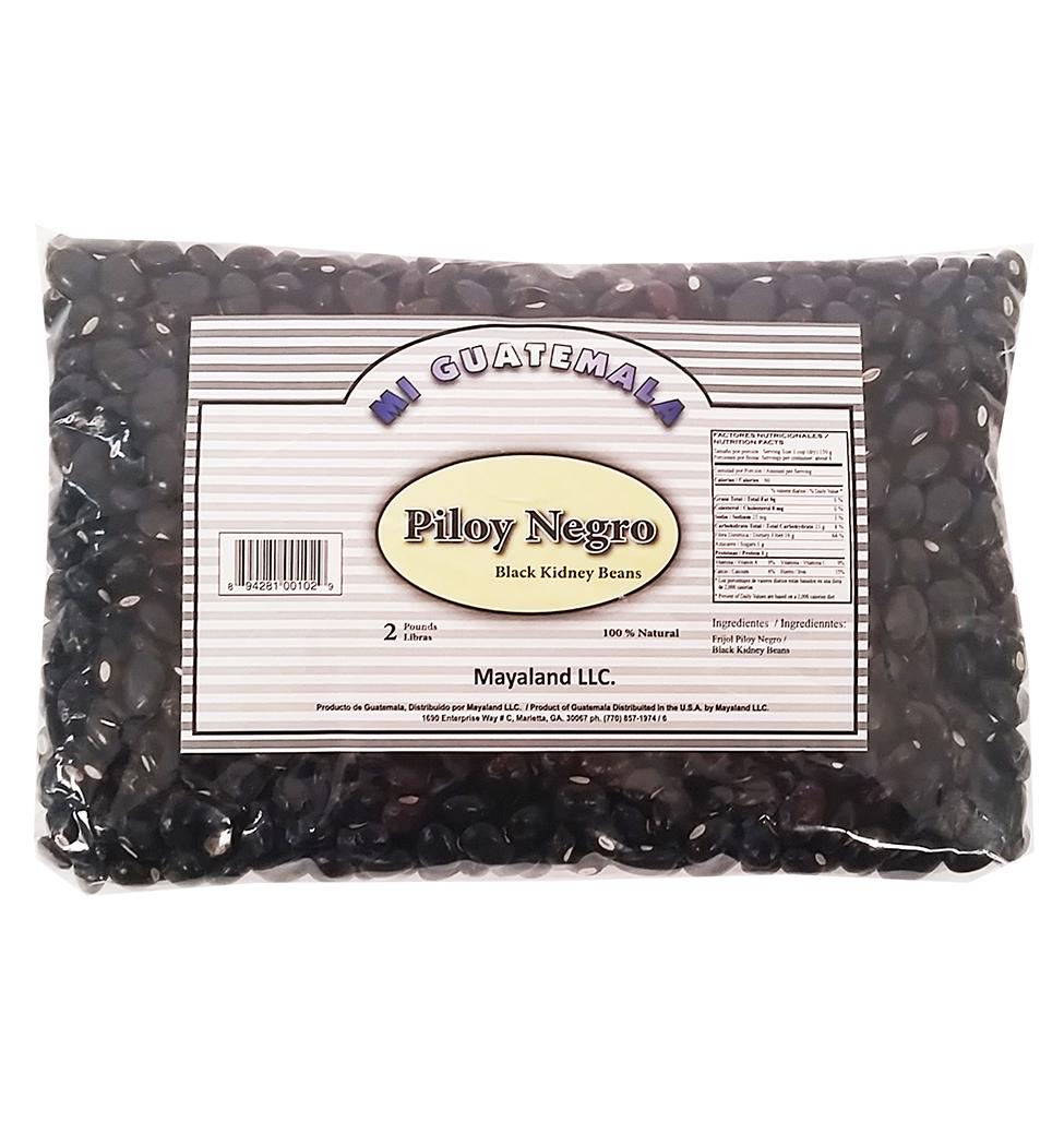 Mi Guatemala Black Kidney Beans 2 Lb - Frijol Piloy Negro (Pack of 6)