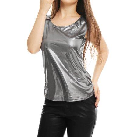 cfcb1965143dc Unique Bargains - Women Sleeveless Stretch Metallic Summer Fit Tank Top -  Walmart.com