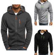 Men's Hooded Hoodie Hoody Winter Warm Sweater Zip Jacket Coat Sweatshirt Outwear Dark Gray Size M