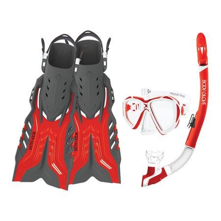 Body Glove Passage Mask Fin and Snorkel Equipment Gear Set w/ GoPro Mount,