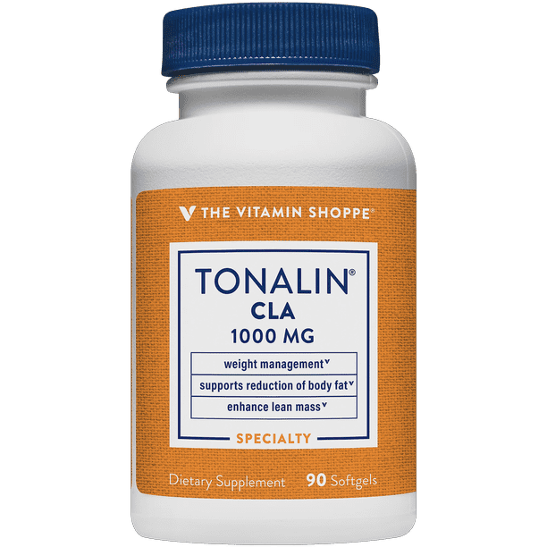 Tonalin CLA 1000mg Softgel, Conjugated Linoleic Acid 780mg From Safflower Seeds Supports Reduction of Body Fat, Stimulant Free, Gluten Free (90 Softgels) by The Vitamin Shoppe