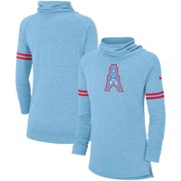 Houston Oilers Nike Women's Historic Marks Long Sleeve Tri-Blend Funnel Sweatshirt - Light Blue