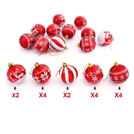 Topboutique 16 Pieces Delicate Painting Glittering Shatterproof Christmas Balls Multi Colors Decorative Hanging Christmas Ornaments Baubles Set for Xmas Tree Decorative Tree Ornament